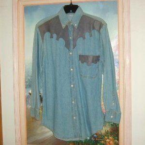Denim Shirt Blue M Leather Yoke & Pocket Chambray